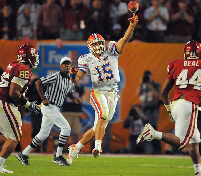 Tim Tebow's passing in the fourth quarter put the finishing touches on Florida's 24-14 win over Oklahoma and clinched the Gators' second national title in three years.