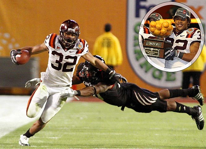 The youthful Hokies earned their 10th win for the fifth straight season, stifling Cincinnati with some vintage Beamerball. The Hokies defense had four interceptions and blocked a field goal attempt, while freshman RB Darren Evans ran for153 yards and a touchdown. Virginia Tech is the first ACC team to win a BCS bowl game since Florida State won the national title in 1999.