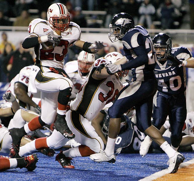 After serving a 2 1/2-quarter suspension for breaking curfew, Maryland running back Da'Rel Scott ran for 174 yards and two touchdowns in the game's final 20 minutes to guide the Terps to a thrilling win. Scott's heroics overcame the effort by Nevada QB Colin Kaepernick, who threw for 370 yards and three touchdowns and ran for a score.
