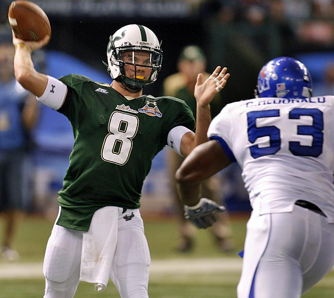 After falling apart in the second half of the regular season, the Bulls finished the season on a high note with this dismantling of Memphis. Matt Grothe passed for 236 yards and three touchdowns and ran for an additional 83 yards.