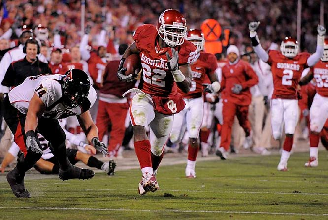 "In their most impressive performance of the season, Oklahoma blew the formerly undefeated Red Raiders off the field. As usual, Sam Bradford led the offensive outburst by completing 14 of 19 passes for 304 yards and four touchdowns. ""I can't remember a game where I even had near as much fun,"" Bradford said. The Sooners also accumulated 299 yards on the ground."