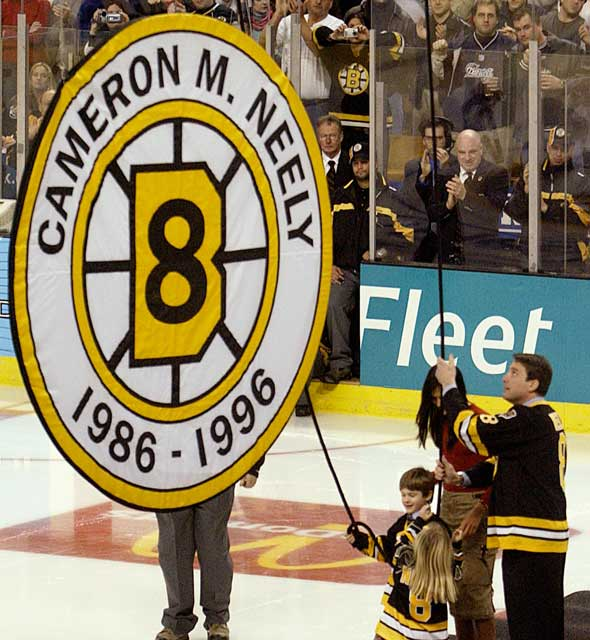 The Boston Bruins retire Cam Neely's No. 8 jersey.