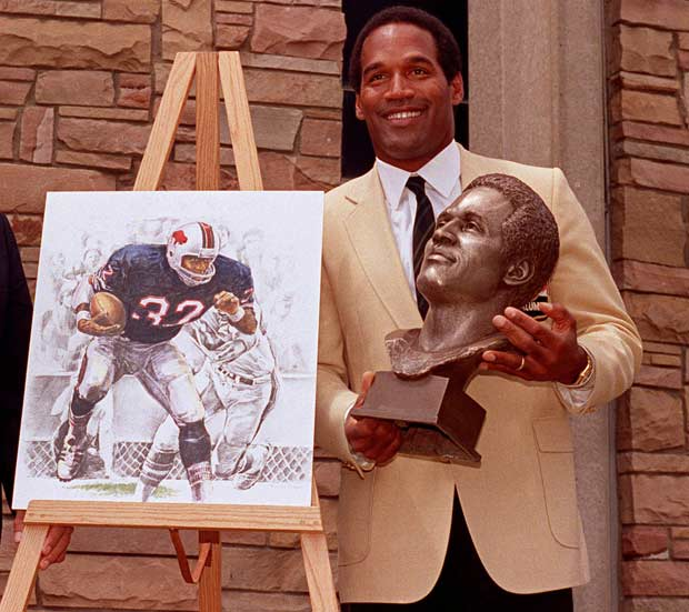 O.J. Simpson becomes the first Heisman Trophy winner to be elected to pro football's Hall of Fame in Canton, Ohio.