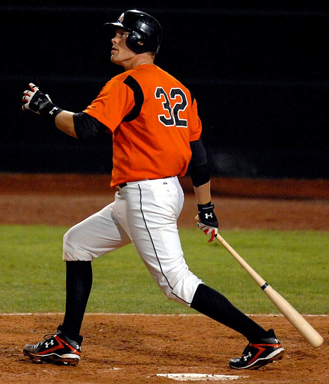A switch-hitting catcher with a tremendous throwing arm, Wieters was named Baseball America's Minor League Player of the Year in 2008 after batting .355 with 27 home runs and 91 RBIs at Single A and Double A.