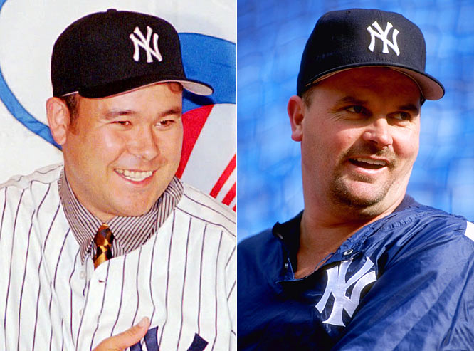 "For 1997: <br>Temperamental Japanese hurler Hideki Irabu, who will become George Steinbrenner's ""fat pus-sy toad"" is given a four-year deal worth $12.8 million. Pitcher David Wells, a heavyweight fan favorite, is signed for three years at $13.5 million."