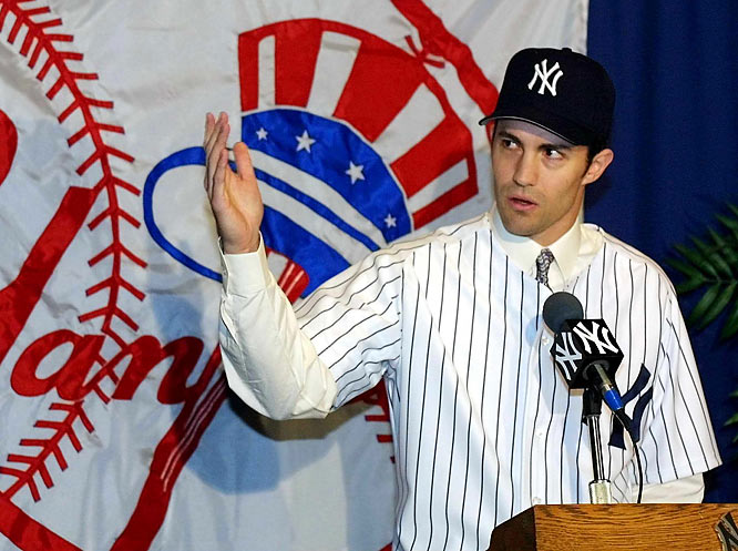 For 2001: <br>Longtime Baltimore Orioles ace Mike Mussina is added to the starting staff with six-year pact valued at $88.5 million.