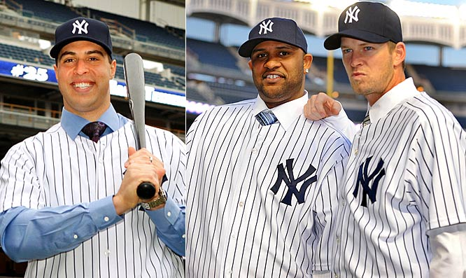 For the 2009 season: <br>Ever since George Steinbrenner bought the New York Yankees in 1973, they have had an almost annual tradition of making big offseason shows by rolling out big name free-agent and trade acquistions. This winter was no different, as Mark Teixeira (8 years, $180 million), CC Sabathia (7 years, $161 million), AJ Burnett (5 years, $82.5 million), and Nick Swisher (trade) were handed pinstripes and introduced to the media. Here's a look at the team's most notable winter baubles, year by year, since The Boss jumped into the free agent market with both feet in 1975.