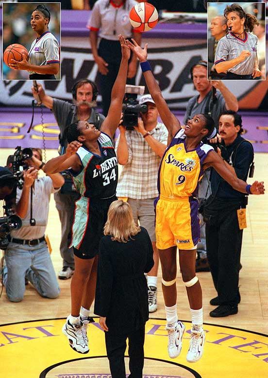 The New York Liberty faced the Los Angeles Sparks on June 21, 1997, in the first Women's National Basketball Association game. Five months later, on Oct. 31, Violet Palmer (left inset) and Dee Kantner (right inset) became the first females to referee an NBA game.