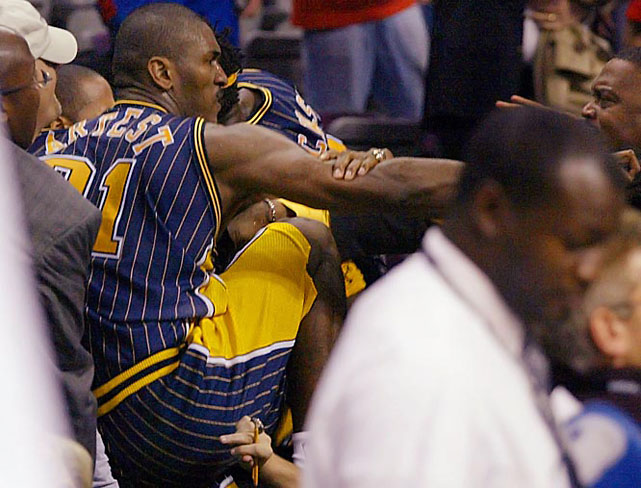 Indiana's Ron Artest reclined on the scorer's table during a ruckus at The Palace of Auburn Hills, a fan threw a cold drink at him and it was on: the ugliest brawl in NBA history. Stern issued nine suspensions totaling nearly 150 games after the November 2004 melee, wiping out Artest's season and probably costing the Pacers a shot at an NBA championship.