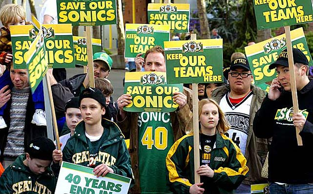 The city of Seattle got to keep the team nickname and uniform colors, but the SuperSonics were bound for Oklahoma City after a $45 million settlement with franchise owner Clay Bennett in July 2008. The deal, and Seattle's refusal to build a new publicly funded arena, ended the NBA's 41-year relationship with the Pacific Northwest city. ''Believe me, it's a big loss anytime you leave a city,'' Stern later said.