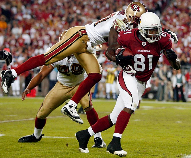 The Cardinals picked up their first Monday Night win since moving to Arizona 20 years ago, beating the 49ers 29-24. Warner notched his third consecutive 300-yard game and threw three more touchdown passes, two to Boldin (pictured).