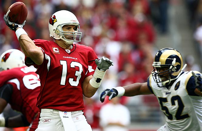 Warner threw for 279 yards and a touchdown as the Cardinals beat the Rams 34-10 to clinch their first division title in 33 years. With three carries for 11 yards, Edgerrin James became the 13th player in NFL history with at least 12,000 career rushing yards.