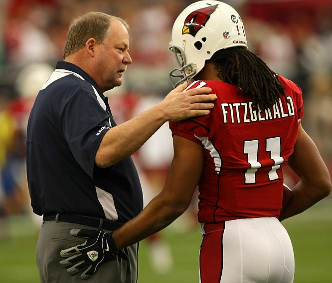The Cardinals ran their record to 6-0 against the NFC West, beating Mike Holmgren's Seahawks 34-21 in the coach's last game with the team. Fitzgerald led the charge, catching five passes for 130 yards and two touchdowns.