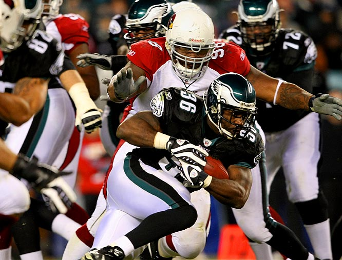 Donovan McNabb bounced back from two dreadful starts, throwing four touchdowns in the Eagles' 48-20 dismantling of the Cardinals. Meanwhile, Brian Westbrook (pictured) tied a team record, scoring four touchdowns -- two receiving and two rushing.