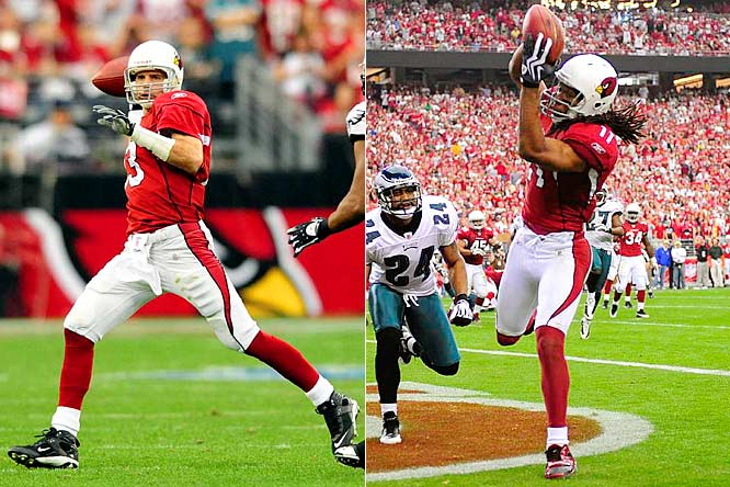 """I want to say Arizona Cardinals and Super Bowl in the same sentence,"" Warner said after helping the Cardinals to a 32-25 victory over the Eagles. ""The Arizona Cardinals in the Super Bowl. How about it?"" The Cardinals got there by building a 21-6 halftime lead on three Fitzgerald touchdown catches and then overcoming a 25-24 deficit with a clutch fourth-quarter drive."