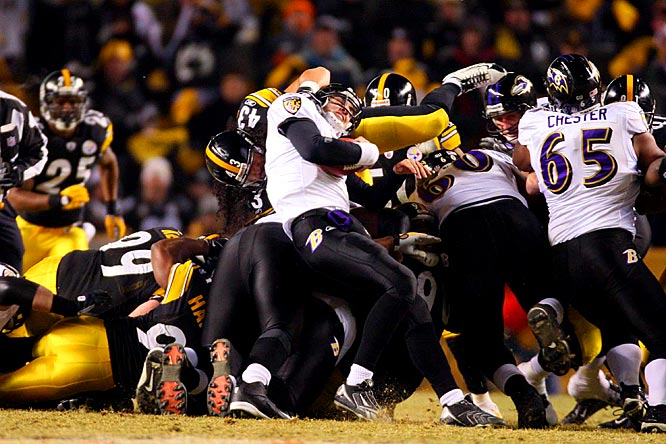 Steelers' safety Troy Polamalu stops Joe Flacco short of a first down in the first quarter.