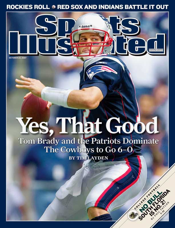 With a dramatically overhauled receiving corps that included Randy Moss and Wes Welker, Brady enjoyed what many have called the best season ever by a quarterback, and led the Patriots to a perfect 16-0 record. Brady finished the season 398-for-578 for 4,806 yards with 50 touchdowns (the most all-time), and a 117.2 passer rating.