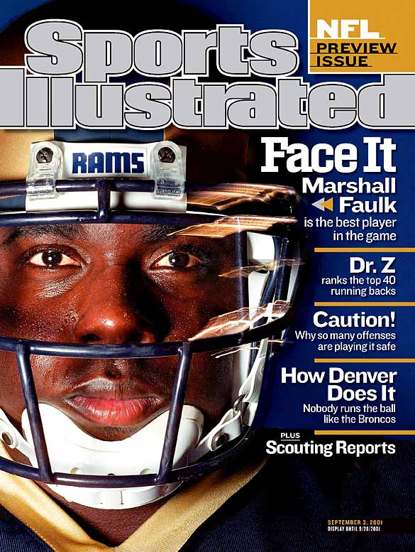 Despite missing two games with injuries, Faulk rushed 260 times for a career-high 1,382 yards (5.3 yards per carry), and caught 83 passes for 765 yards, for an NFC-leading total of 2,147 yards from scrimmage. He added 21 touchdowns, and finished second to teammate Kurt Warner in MVP voting.