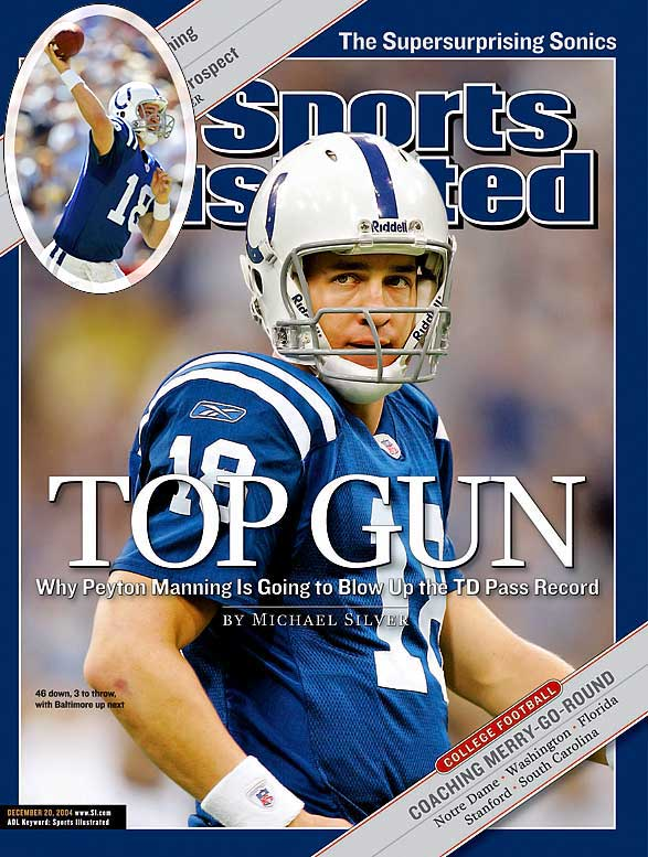 In racking up 4,557 passing yards and a league record 49 touchdowns (since broken by Tom Brady), Manning helped three receivers notch at least 1,000 yards and 10 touchdowns in 2004. Manning also set the all-time record for passer rating (121.1) in leading the Colts to a 12-4 record.