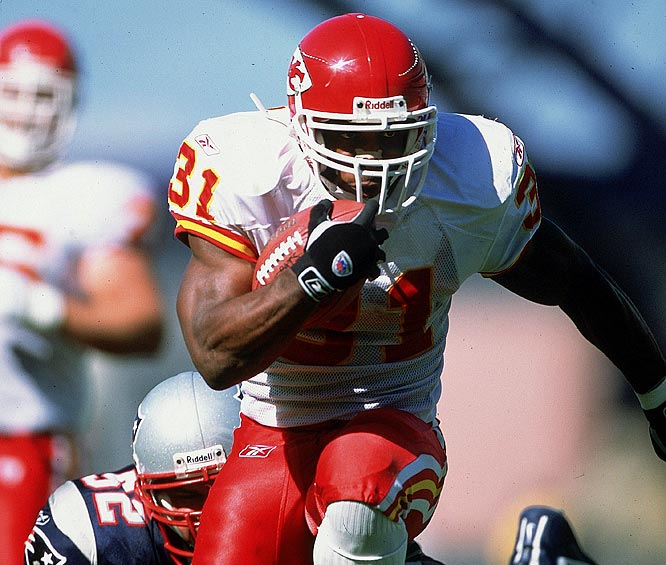 Although he missed the final two games of the season with a hip injury, Holmes rushed for 1,615 yards and 21 touchdowns in 2002. He also caught 70 passes for 672 yards and three scores.