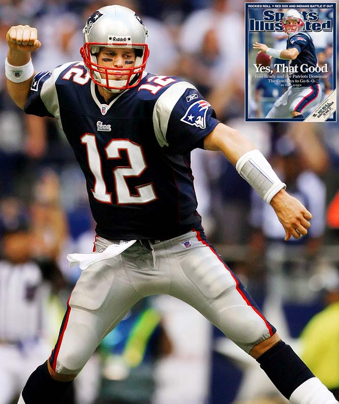 With a dramatically overhauled receiving corps that included Randy Moss and Wes Welker, Brady enjoyed what many have called the best season ever by a quarterback. He led the Patriots to a 16-0 record and finished the season 398-for-578 for 4,806 yards,  50 touchdowns (the most all-time) and a 117.2 passer rating.