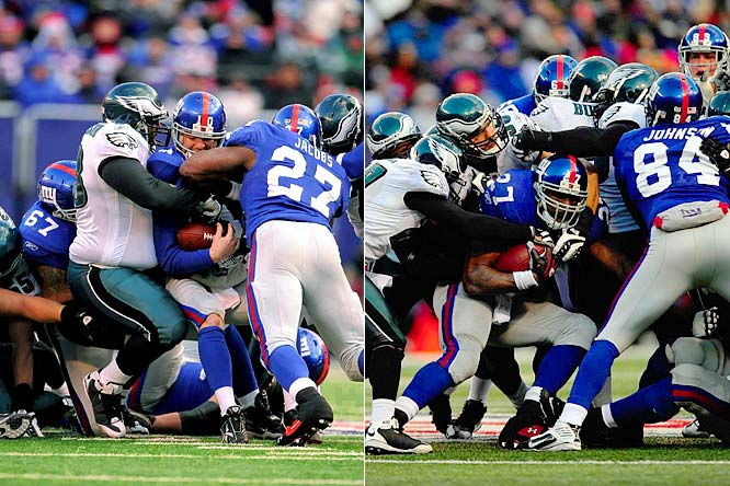 The Eagles defense had answers for everything the Giants tried, stopping them twice on fourth down near midfield in the fourth quarter. Eli Manning was stuffed on a quarterback sneak on fourth-and-inches with 12:39 left, and Jacobs (19 carries, 92 yards), who was forced to bounce outside all day, was dragged down short on fourth-and-2 with 6:40 left.