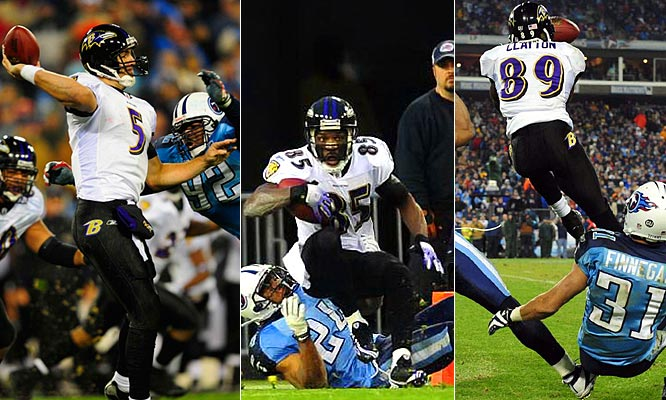 The Ravens struggled to move the ball against a tough Titans defense, but Joe Flacco hit Derrick Mason with a 48-yard bomb for the first score and set up another score with a 37-yarder to Mark Clayton.  Flacco became the first quarterback to win two playoff games in his rookie year.