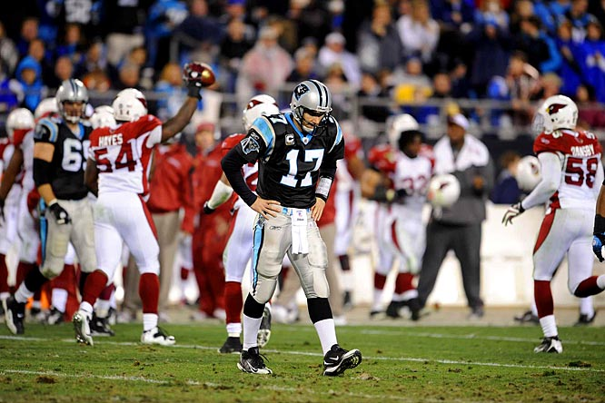 Jake Delhomme threw five interceptions and lost a fumble on his 34th birthday.  Just one shy of the NFL playoff record for interceptions, Delhomme became the first player to have five picks in the playoffs since Oakland's Rich Gannon in the 2003 Super Bowl against Tampa Bay.