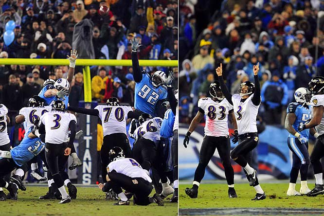 Matt Stover missed a costly field goal during a three-point loss to the Titans in October, but made amends by nailing two fourth quarter field goals on Saturday. He booted the game-winning kick (pictured) from 43 yards out with 53 seconds left, knocking out the team with the NFL's best record during the regular season.