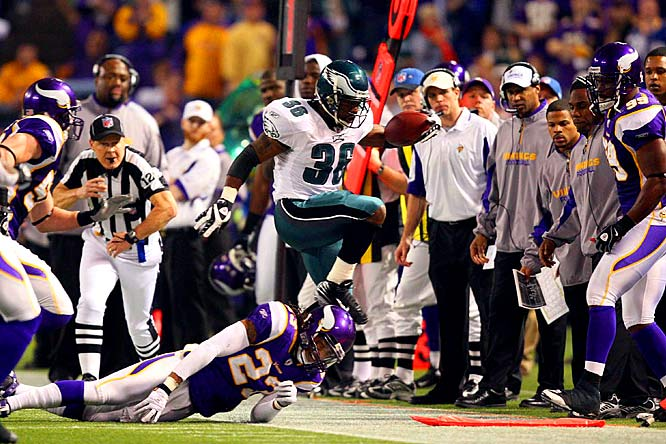 Brian Westbrook managed only 38 yards on 20 carries, but caught three passes for 83 yards, including a  devastating 71-yard touchdown off a screen pass midway through the fourth quarter.
