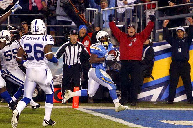 Speedy little Darren Sproles scooted 22 yards for the winning score 6:20 into overtime and the Chargers beat the Colts 23-17 in their AFC wild-card game.