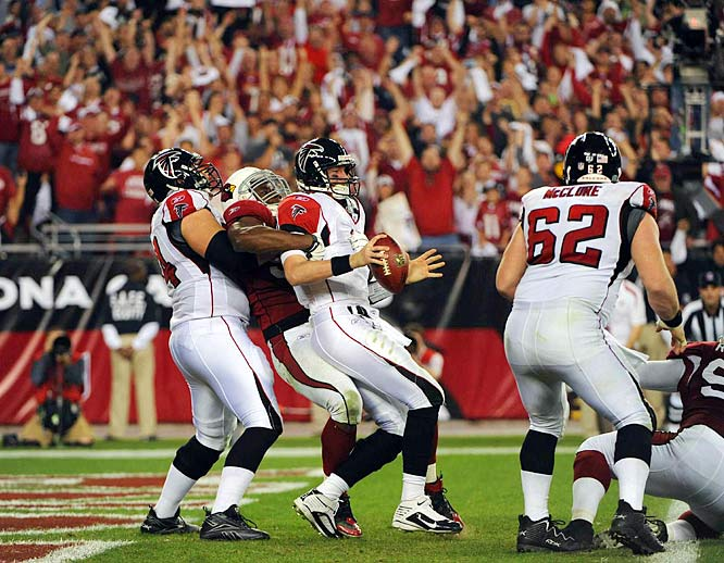 Atlanta rookie Matt Ryan was intercepted twice, tackled in the end zone for a safety and fumbled the ball away on a botched handoff that the Cardinals returned for a momentum-swinging touchdown.  Ryan wasn't all bad though, completing 26 of 40 passes for 199 yards and two touchdowns.