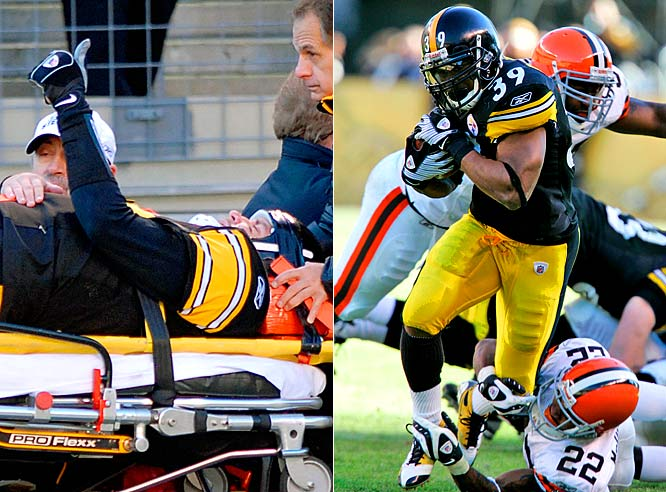 Roethlisberger gave playoff-bound Pittsburgh a major scare by sustaining a concussion during a 31-0 rout over the Browns. Only slated to play one half of the game, Roethlisberger lay on the turf for nearly 15 minutes after he was leveled by Willie McGinest. Meanwhile, Parker provided a nice bookend to his season, rushing for 116 yards and a touchdown.