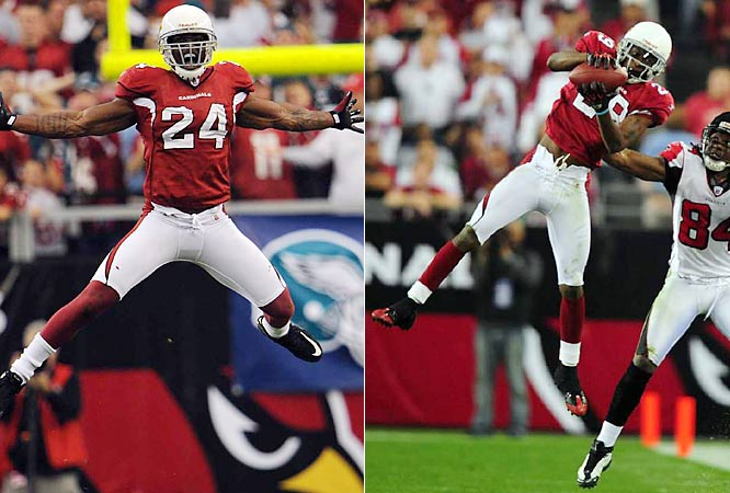 Hey, if Harvey and Randy did it, why not this duo? You know, a 1 and 1A entry, like at the track. Two thoroughbreds in the Arizona secondary. Yo! Adrian's the senior Cardinal, an eighth-year safety and the leader of this unit. They say that breakin' up is hard to do? Not for Rodgers-Cromartie, the hyphenated rookie corner with two picks and seven breakups in the playoffs. Official Vegas Odds: 45-1 for Wilson, 30-1 for Rodgers-Cromartie.