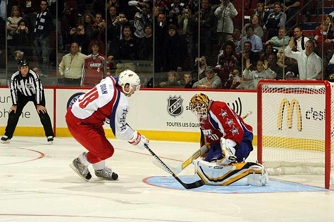 Tied 11-11, the game went to overtime, and despite a power play for the West after a hooking call on Canadiens defenseman Mike Komisarek (the first All-Star game penalty since 2000), neither team scored, forcing a shootout.  East netminder Tim Thomas stopped Shane Doan on the first attempt.