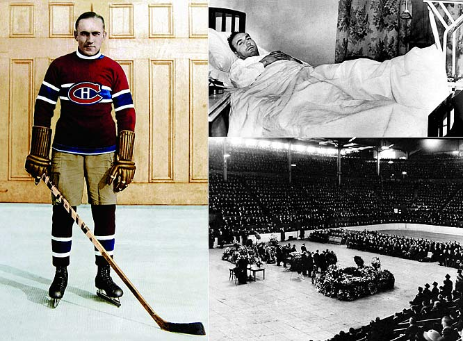 """Widely regarded as hockey's first superstar, the """"Mitchell Meteor"""" or """"Stratford Streak"""" was the fastest skater of his era. A three-time Hart-winner (1928, `31, `32) and two-time scoring champ, he won three Cups with the Habs. His second stint in Montreal, after two years in New York and Chicago, ended tragically when he died six weeks after a career-ending leg injury in 1937.  His body laid in state at center ice in the Montreal Forum as thousands of fans paid a final tribute of Babe Ruthian proportions."""