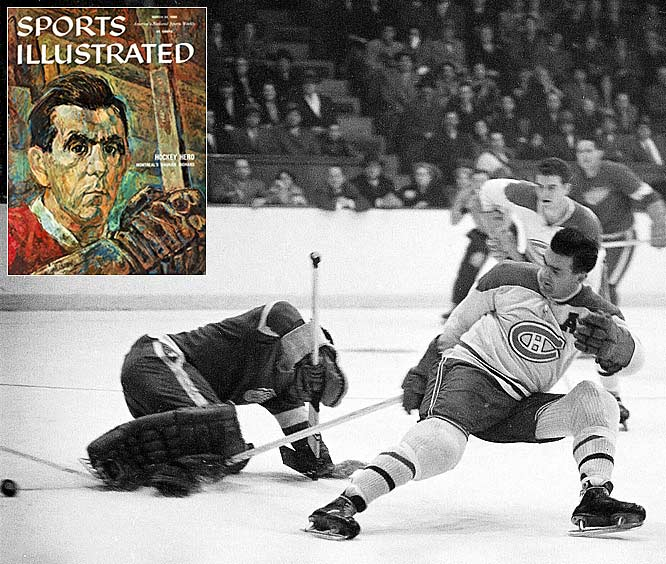 """The NHL's top goal-scorer each season receives the Maurice Richard Trophy, named for the first 50-goal scorer and first to reach 500. Feared for his intensity and crazed stare, The Rocket is the most beloved Canadien -- winner of eight Cups and five scoring titles in 18 years. He wore the """"C"""" from 1956-60 and the NHL waived its waiting period so he could be immediately inducted to the Hall of Fame in 1961. After his death in 2000, he was given a state funeral -- the first Canadian athlete so honored."""