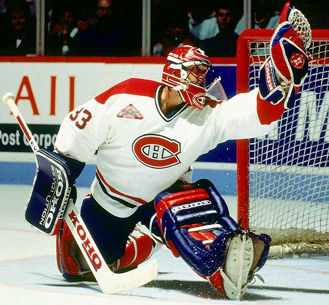 Possibly the greatest goaltender of all time -- he holds the NHL career marks for regular-season (551) and postseason (151) wins,  and playoff shutouts (23) among others -- the fiesty Québec native who popularized the butterfly style won the Conn Smythe and the Cup in his first full season with Montreal (1985-86) . Earning the nickname of St. Patrick, he again led the Habs to the Cup in '93, garnering the Smythe. After 11 seasons in Montreal, he left for Colorado after a bitter falling out, but was welcomed back this season to have his number retired.