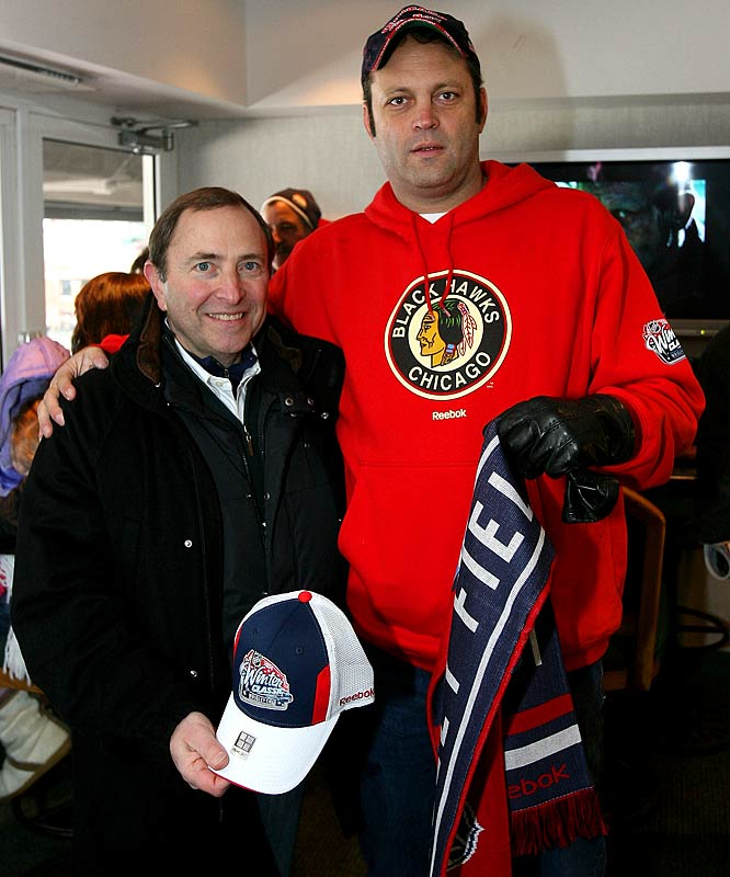 NHL Commissioner Gary Bettman poses with Vince Vaughn during the game.