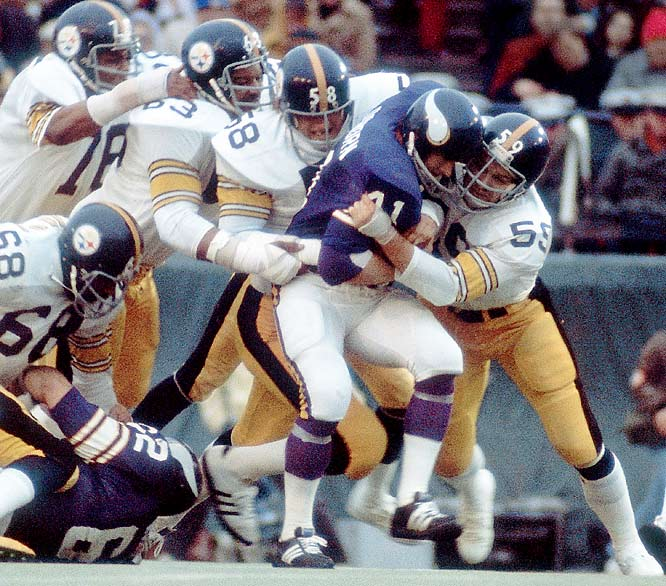 Pittsburgh made its Super Bowl debut in January 1975 against the Minnesota Vikings.The vaunted Steelers defense -- led by Jack Ham (59), Jack Lambert (58), Ernie Holmes (63) and Dwight White (78) -- held the Vikings offense scoreless in the 16-6 win. (Minnesota's only points came on a blocked punt.)