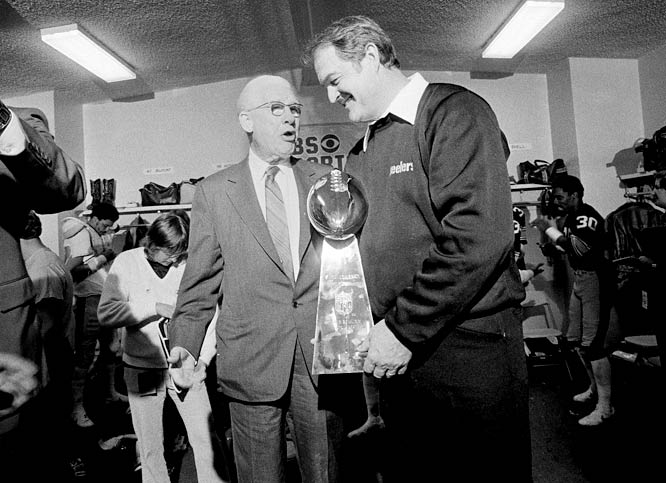 Pittsburgh owner Art Rooney and coach Chuck Noll were all smiles after receiving the Super Bowl trophy.