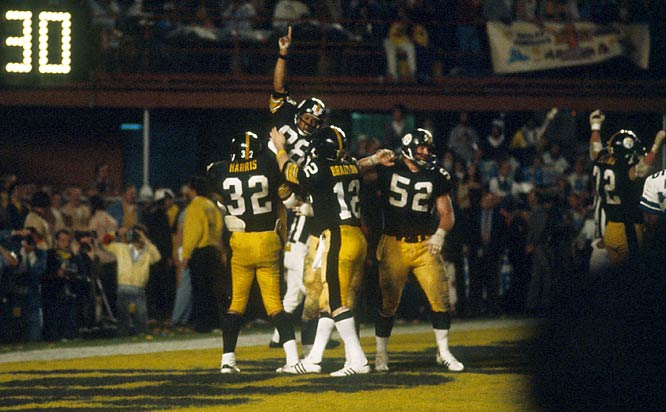 After a three-year absence, the Steelers returned to the Super Bowl in 1979,once again meeting the Cowboys. Much like Super Bowl X, Pittsburgh pulled out a close victory, 35-31, thanks to the strong play of Lynn Swann (88), Franco Harris (32) and Terry Bradshaw (12), who was named the game's MVP.
