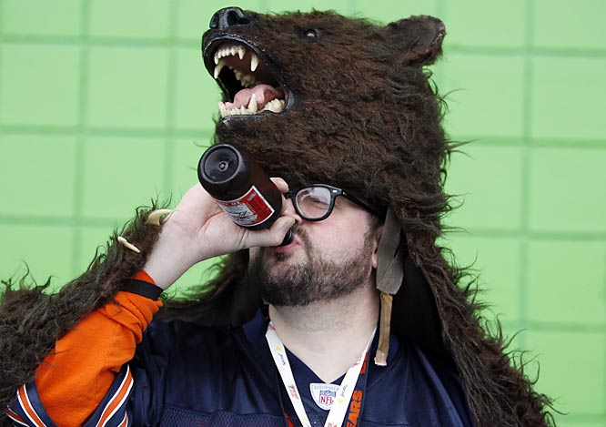 A Chicago fan enjoys a beverage prior to the Bears-Colts matchup in Super Bowl XLI.