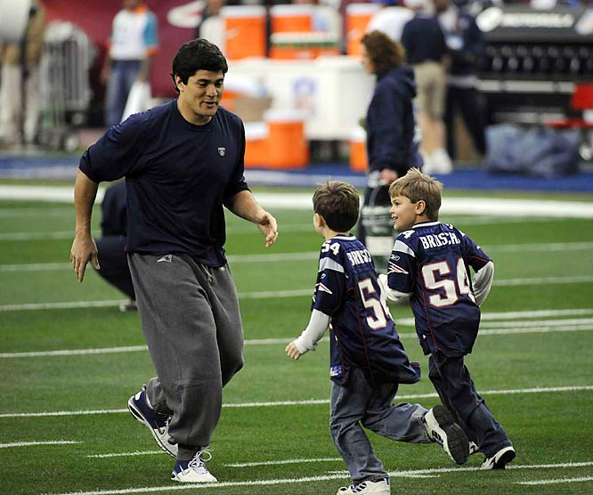 Tedy Bruschi spends some quality time with his sons prior to Super Bowl XLII.