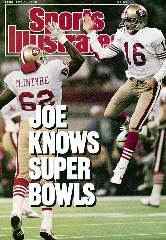 The King of Super Bowl Quarterbacks led a last-minute, game-winning touchdown drive against the Bengals in Super Bowl XXIII. He one-upped himself a year later in his fourth and final Super Bowl appearance. Montana was at his surgeon-like best, calmly slicing the heart out of the Broncos, 55-10, with five TD tosses and a near-perfect 147.6 passer rating -- remarkable statistical accomplishments against a Denver defense that led the NFL in scoring (14.1 ppg) while surrendering just 13 TD passes all season. He earned a record third Super Bowl MVP award for his performance, while San Francisco's 55 points and 45-point margin of victory remain Super Bowl records.  The biggest exclusion from this list might be Troy Aikman in his team's 52-17 win over the Bills in Super Bowl XXVIII. But on a day when the Dallas D forced a Super Bowl-record eight turnovers, the Cowboys could have won with a tackling dummy at quarterback. Joe Montana, meanwhile, is limited to one spot on the list. You could make a great case that three of his Super Bowl performances belong in the top 10.