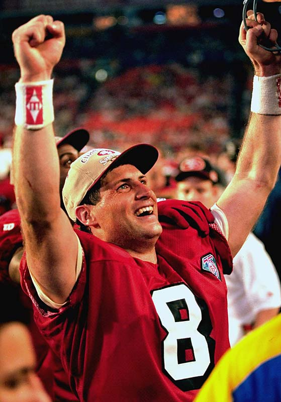 Young needed a performance for the ages to finally emerge from the long shadow cast by Joe Montana: he delivered one with a spectacular MVP effort in the 49-26 win over San Diego. It's well known that his six TD passes that day are a Super Bowl record. But that statement actually diminishes his accomplishment: Young is, in fact, the only quarterback in history to throw six TD passes in an NFL postseason game. (Daryle Lamonica threw six in an AFL playoff game in 1969.)