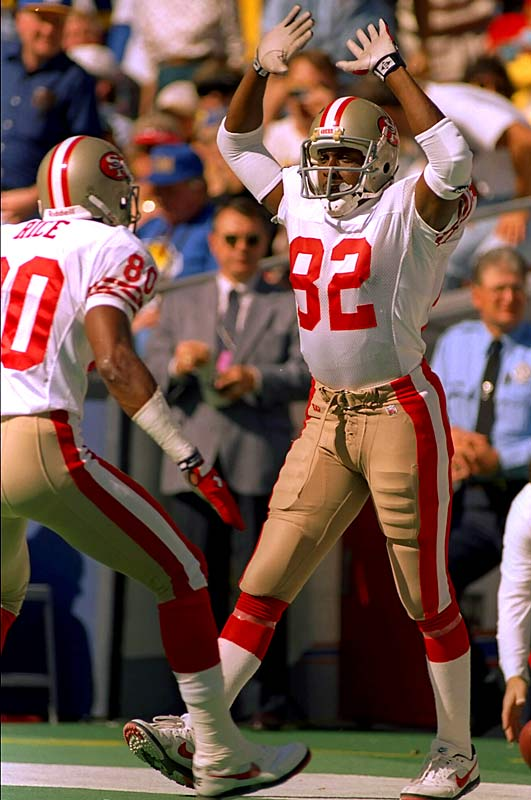 Jerry Rice and John Taylor led the 49ers to three Super Bowl titles (XXIII, XXIV, XXIX), and compiled some of the biggest numbers in championship game history. In those three games, they combined for 614 yards and nine touchdowns on 36 receptions. Of course, Rice was on the receiving end of most of those Montana and Young passes, never totaling fewer than seven catches or 148 yards in the three games.