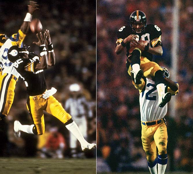 Against the backdrop of the Steel Curtain defense, Terry Bradshaw led the Steelers to four Super Bowls in part because of Lynn Swann and John Stallworth. In helping Pittsburgh to victories in Super Bowls IX, X, XIII, and XIV, the two Hall of Fame wide receivers combined for 632 yards and six touchdowns.