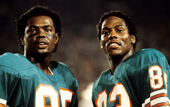 With Dan Marino throwing to them, Mark Duper and Mark Clayton put up prolific receiving numbers for the Miami Dolphins during their 10 seasons together. The duo accumulated more than 17,000 receiving yards during those years, but only reached one Super Bowl -- a 38-16 rout at the hands of the 49ers in which they caught just 7 passes for 114 yards and no touchdowns.