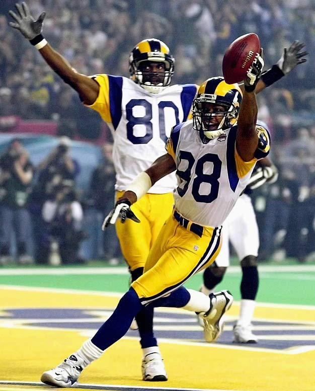 """As part of the Rams' """"Greatest Show on Turf"""" Super Bowl teams, Torry Holt and Isaac Bruce combined with Kurt Warner and Marshall Faulk on one of the most electric offensive teams of all time. In their two Super Bowl appearances, Bruce and Holt combined for 376 yards and two touchdowns. Unfortunately for the Rams, most of that production and both of the touchdowns came in the same game -- Super Bowl XXXIV.<br><br>Send comments to siwriters@simail.com"""